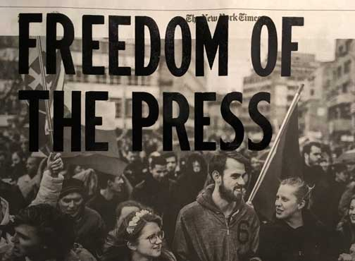 Freedom of the Press, Letterpress. Arti installation. First Amendment